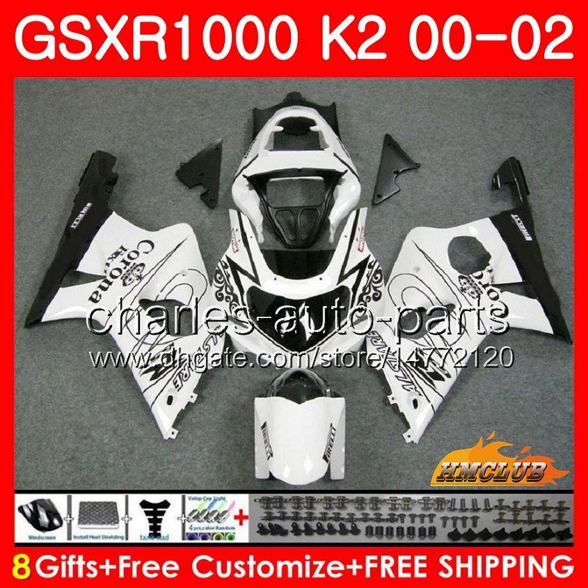 Telaio per SUZUKI GSX-R1000 GSXR1000 K2 GSX R1000 00 02 KIT Bodys 14HC.14 Vendita bianca GSXR-1000 GSXR 1000 00 01 02 2000 2001 2002 Fairing