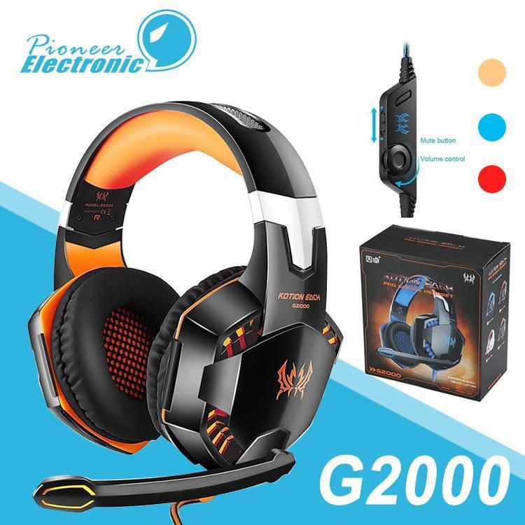 KOTION CADA estéreo G2000 ordenador Auriculares Gaming Headset Casque Deep Bass juego con el Mic luz LED para PC Gamer Paquete