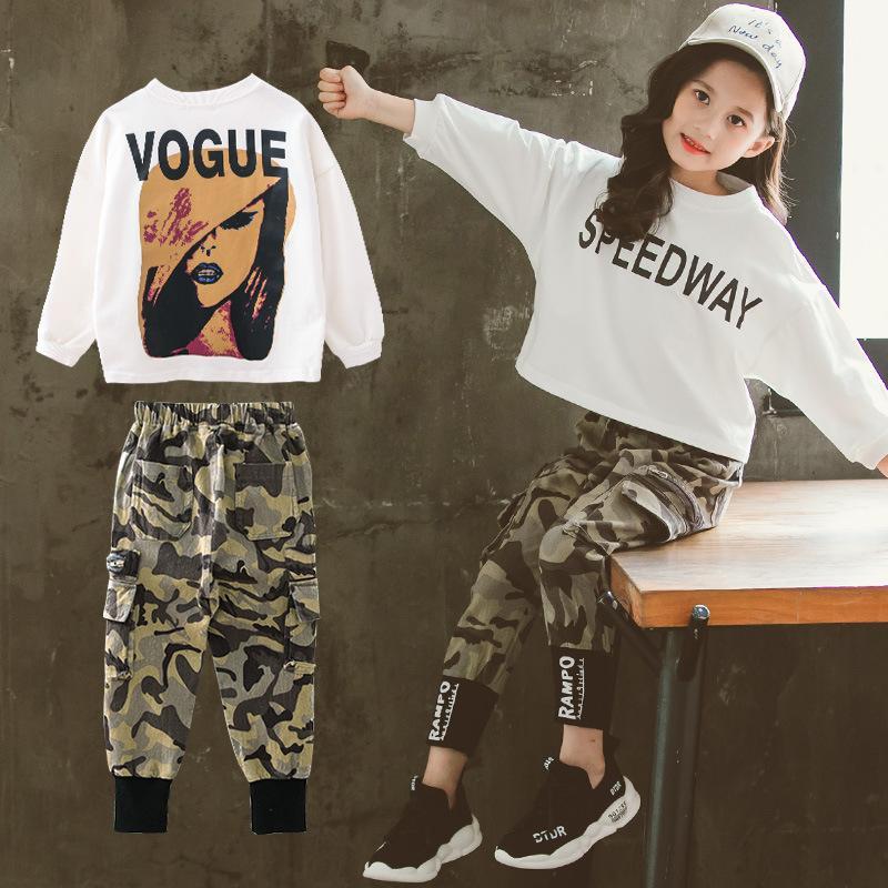 2020 Kinder des Mädchens Kleidung Set Gelegenheits Letters Tops Langarm-T-Shirts Lange Legging Camouflage-Hosen-Kind-Mädchen-T-Shirts + Pants 2 Stück