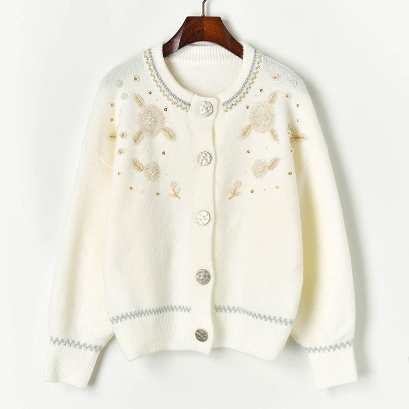 N14 2019 Осень Белый / Черный Colorblock Вязаные Кнопки Cardigans свитер с длинным рукавом Экипаж шеи Мода Свитера X1910CAZ91033