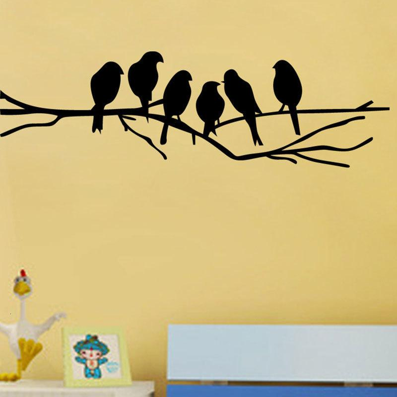 New Black Birds on the Tree Branch Wall Sticker for Living Room Wall Decals for Art Stickers Home Decoration Murals Removable