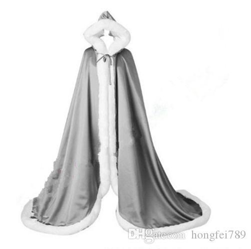 Romantik Gerçek Görüntü Kapşonlu Gelin Pelerin Uzun Düğün Cloaks Faux Kürk Kış Düğün Gelin Sarar Gelin Pelerin Artı Boyutu