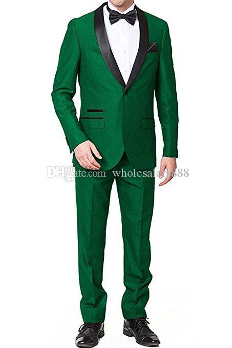 Nach Maß Groomsmen Grün-Bräutigam-Smoking-Schal Schwarz-Revers-Mann-Klagen Hochzeit Bester Mann-Bräutigam-Blazer (Jacket + Pants + Tie) L268