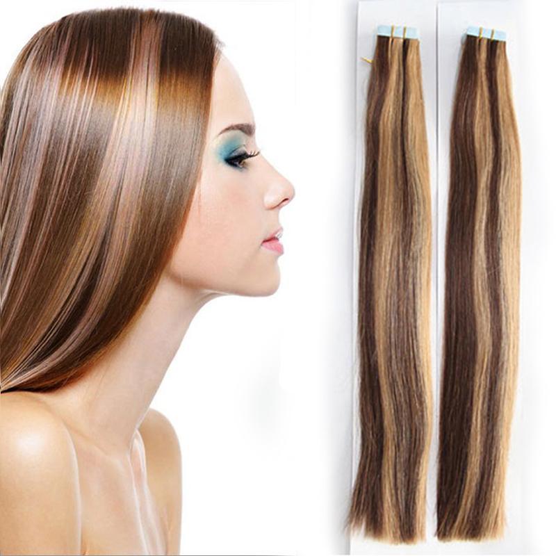 Invisible Tape Remy Hair Extensions peau Trame Tape Extension Cheveux raides 100 g / 40piece 1 * 4cm 12-24inch haute qualité Factory Direct