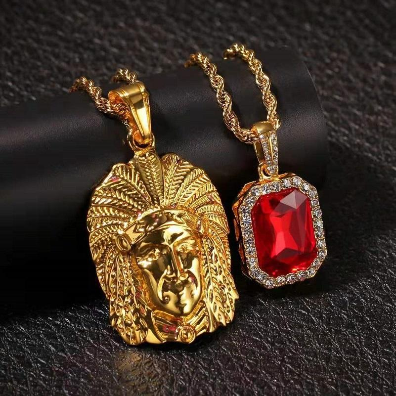 iced out indian chief red gem pendant necklace jewelry set men luxury designer mens gemstone bling diamond pendants 24 30inches 3mm chains