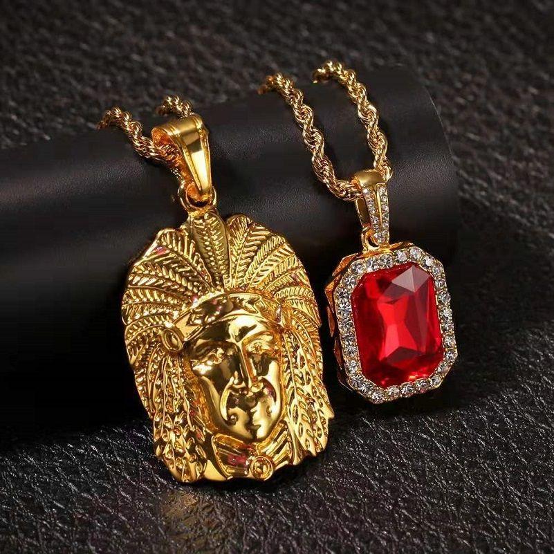 hombre del diseñador colgante de gema roja collar de la joyería de lujo juego de los hombres principales de la India hacia fuera helado PIEDRA PRECIOSA bling de colgantes de diamantes 24 30inches 3mm cadenas