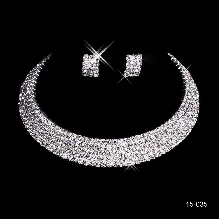 Luxe Pas Cher 15035 Brillant Boucle D'oreille En Cristal De Mariage De Mariée Collier Rond De La Mode De Mariée Bijoux Ensembles Soirée Bijoux
