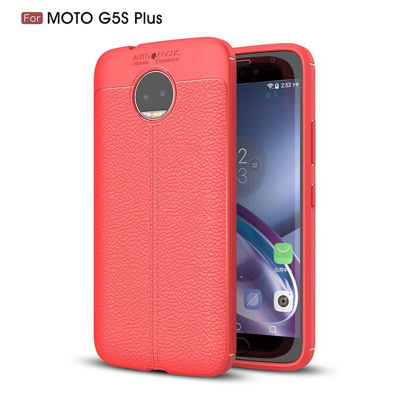 For Moto G5S Plus Phone Case Thin Silicone Litchi Grain Premium Flexible Slim Thin Soft TPU Leather Back Cover