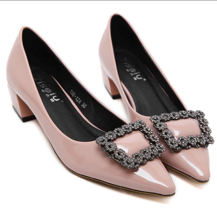 Rugan bayanlar yüksek topuklu kadın ayakkabıları platformu seksi sivri burun ayakkabılar pompaların üzerinde elmas taklidi kayma pompalar