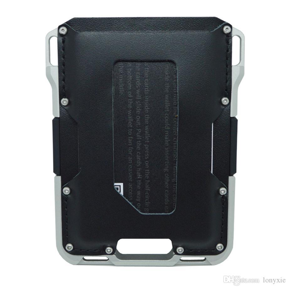 Tarjeta de los hombres Tarjeta de la tarjeta Tarjeta Multifuncional Cartera Aleación Metal Bloqueo de cuero RFID Aluminio Xlfum