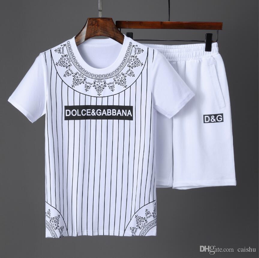 2019 diseñador de la marca de moda T-shirt hip hop blanco ropa de hombre casual camiseta de los hombres carta de impresión conjunto