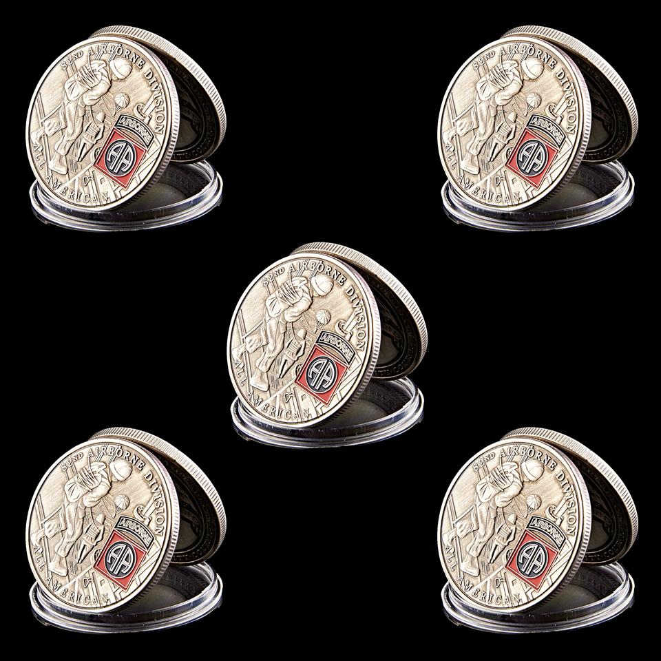 5pcs USA 82nd Airborne Division US Liberty Eagle Custom Metal Copper Military Challenge Coin Collectibles Gifts