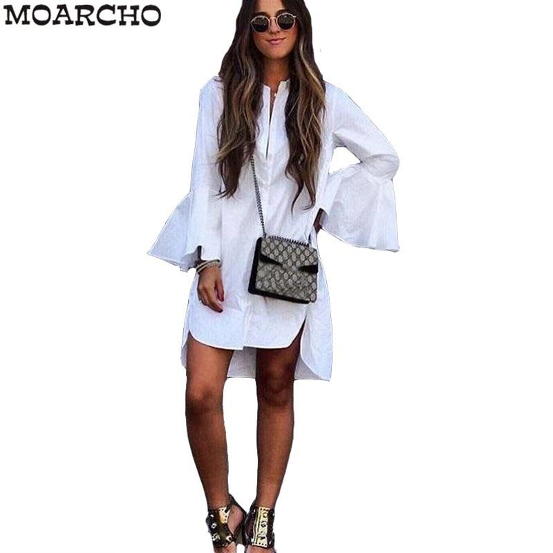 Forma-New Mulheres Branco Alargamento da luva do vestido do verão FashioO Neckaight Mulher Bloues Tops Roupa descontraída elegantes