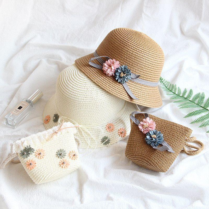 아기 소녀 밀 짚 모자 소녀 여름 해변 통기성 밀 짚 모자 아기 소녀 나비 썬 스크린 밀 짚 모자와 가방