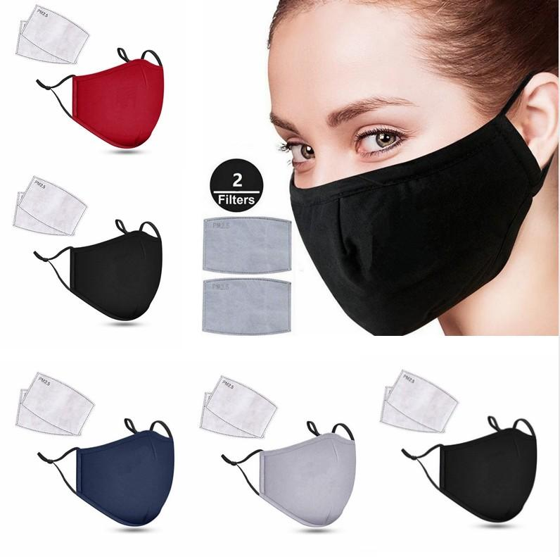 Repita Algodón Negro Máscara de la boca de la mascarilla anti polvo PM2.5 con 2pcs Activado Filtro estilo coreano fibra de carbón de la cara