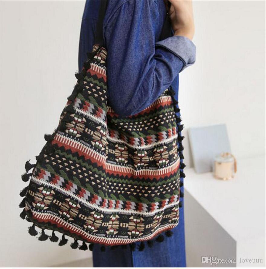 Tassel Fringe Women Shoulder Bag Vintage Gypsy Bohemian Ethnic Retro Knitting Woven Femanine Handbag Folk Boho Shopping Bag Tote