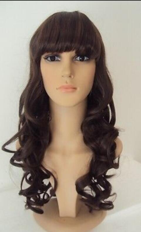 WIG shipping Long Dark Brown Elegant Curls Heat Resistant Synthetic Wig