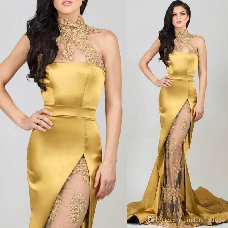 Mermaid High Neck Gold Evening Dresses 2019 Beaded Appliques See-through High Leg Slit Formal Gowns Sexy Party Dress
