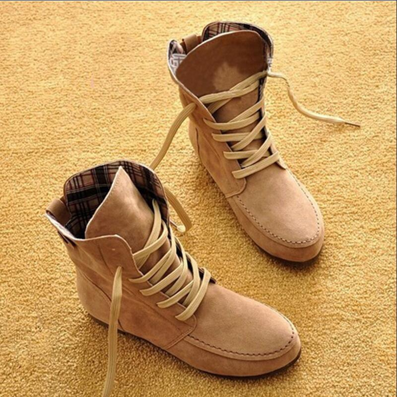 Shoes Woman Ankle Boots Nubuck Leather Women's Boots Round toe lace up with/without fur Boots
