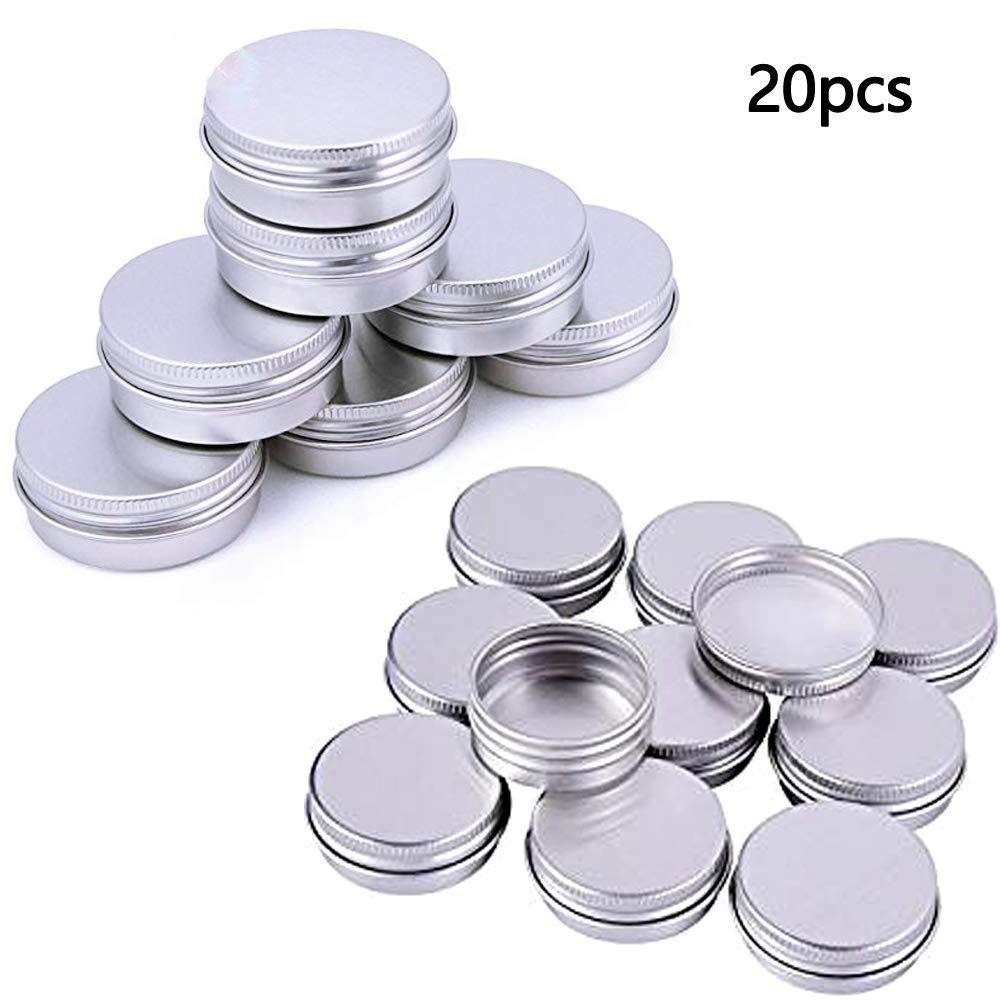 100pcs (5g / 10g / 15g) ricaricabile contenitori di alluminio cosmetica vuota del contenitore di argento della vite Jar portatile Viaggi Tin imballaggio Skincare Spezie