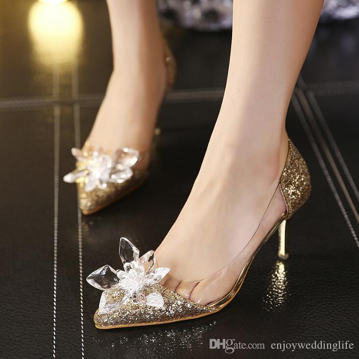 Sparkly Stiletto Shoes Cristais salto de casamento para a noiva frisada Designer de Luxo Salto Cinderella Bombas Poined Toe Calçados Pedrinhas nupcial