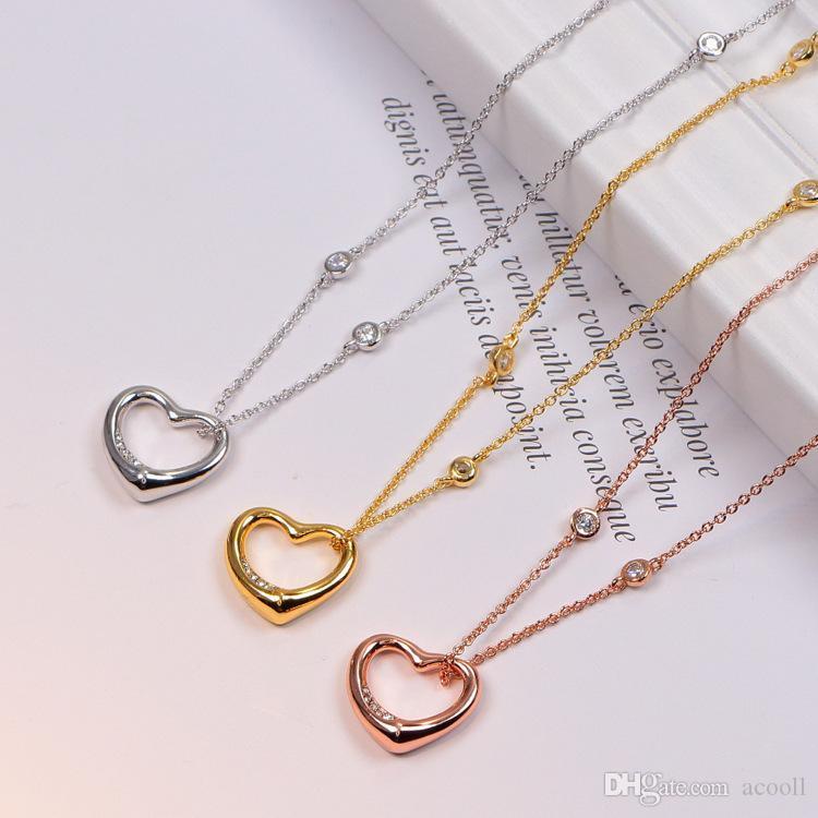 Мода полые кулон ожерелье для женского титанового стального покрывала розовое золото кристалл кулон ожерелье ювелирные изделия