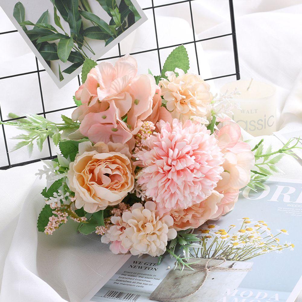 Mezcla de flores hermoso peonía flores artificiales de seda hortensias ramo falsa para la boda en casa de espuma de plástico decoración de diente de león