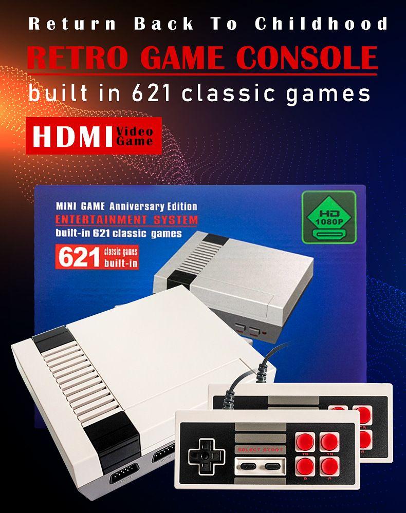 vendedora caliente Mini 621 juegos de niños HDMI TV Video jugador del juego más nuevo sistema de entretenimiento de juegos de consola con nox reatail
