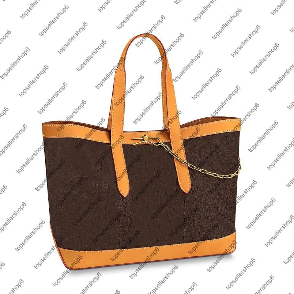M44878 Cabas Voyage الرجال حمل قماش حقيبة محفظة أنيقة الأصلي جلد البقر الجلود حزام سلسلة حقيبة الكتف حقيبة تسوق