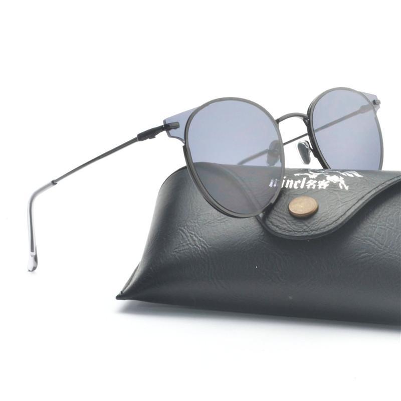 2019 Clásico de época Hombres Gafas de sol Mujeres Gafas redondas grandes Gafas de sol de las mujeres Marcos de metal de cristal Diseñador de la marca Nuevo Negro NX