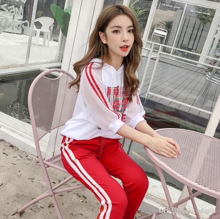 Traje deportivo 2019 verano nueva mujer coreana con capucha moda casual ropa deportiva de dos piezas