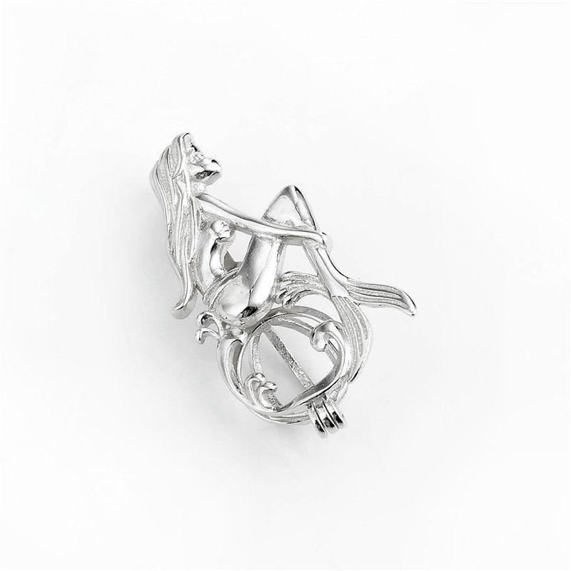 HOPEARL Gioielli Mermaid Cage Wishing ciondolo regalo del partito perla argento 925 apribile Pendant 3 Pezzi