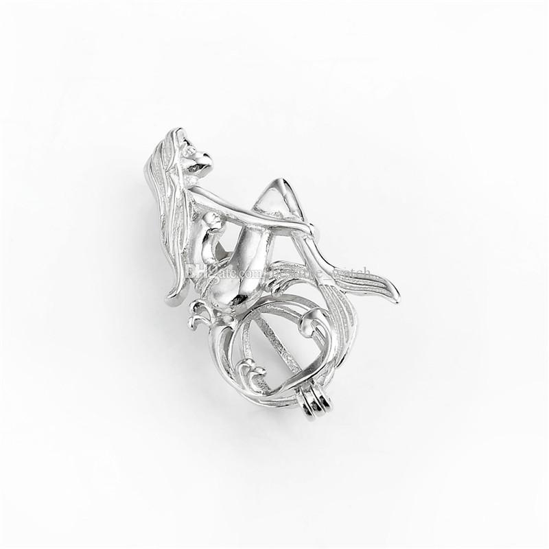 HOPEARL Jewelry Mermaid Cage Pendant Wishing Pearl Party Gift 925 Sterling Silver Openable Pendant 3 Pieces
