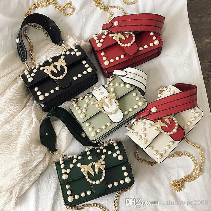 wholesale women handbag exquisite Pearl decoration women chain bag sweet little fresh diamond shoulder bag personality buckle fashion bag