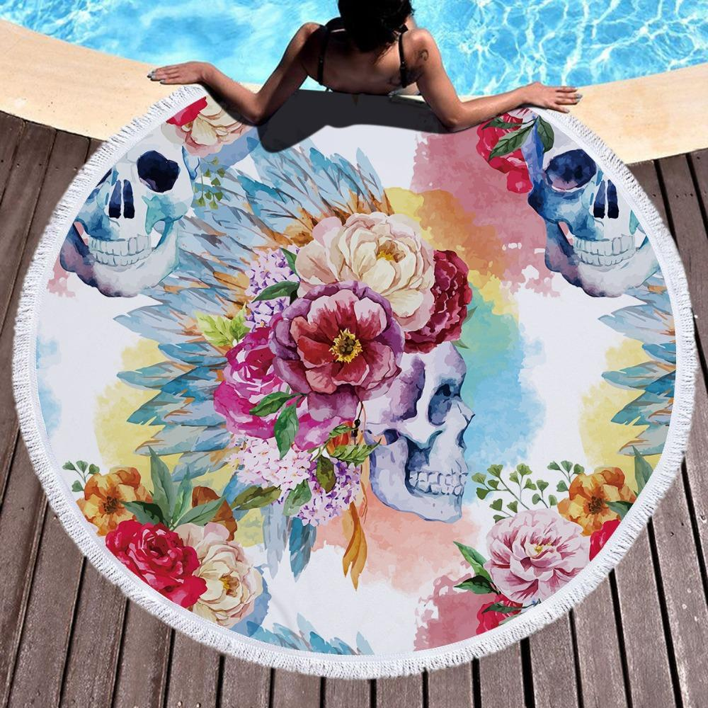 Красочный череп круглый пляжное полотенце цветочные кисточкой гобелен акварель цветок коврик для йоги готический одеяло Toalla 150 см