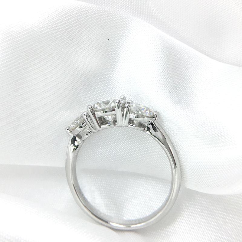 AEAW 2ctw 6.5mm Yuvarlak Kesim EngagementWedding Moissanite Elmas Çift Halo Yüzük Platin Kaplama Gümüş Y200321