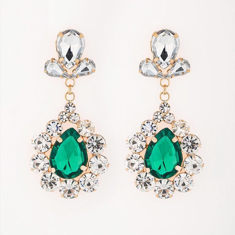 새로운 꽃을 드롭 빨간색,파란색,녹색 컬러 크리스탈 귀걸이 bling 숙녀 모자이크 형식적인 신부 드레스 귀걸이#E081