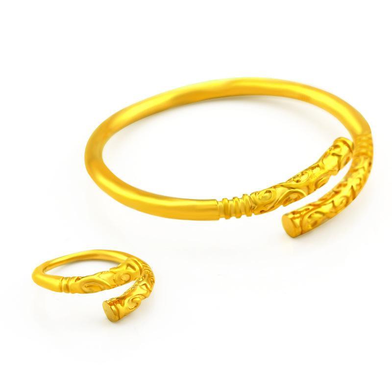 Bangle Ring Set oro giallo 18 carati Filled DONNA UOMO registrare Un insieme dei monili del braccialetto con l'anello Classic