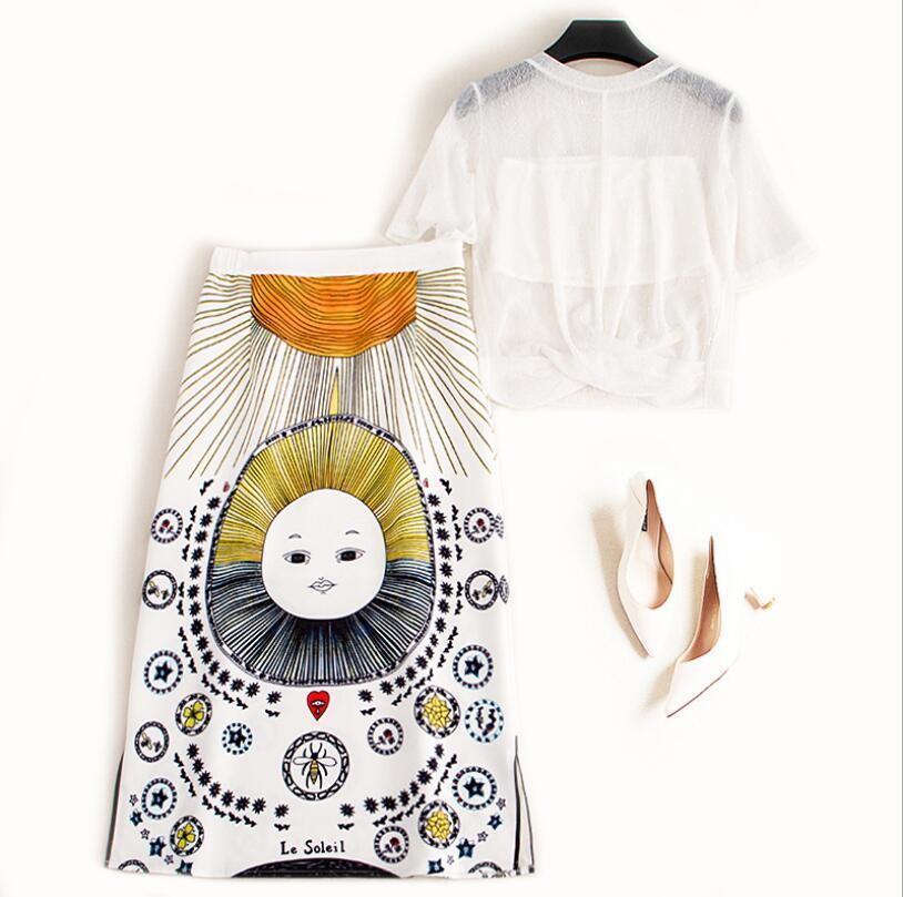 Duas peças terno 2020 Verão New mulheres fahsion Perspectiva Chiffon T-shirt encabeça + cintura alta impresso saia Sexy de duas peças w656