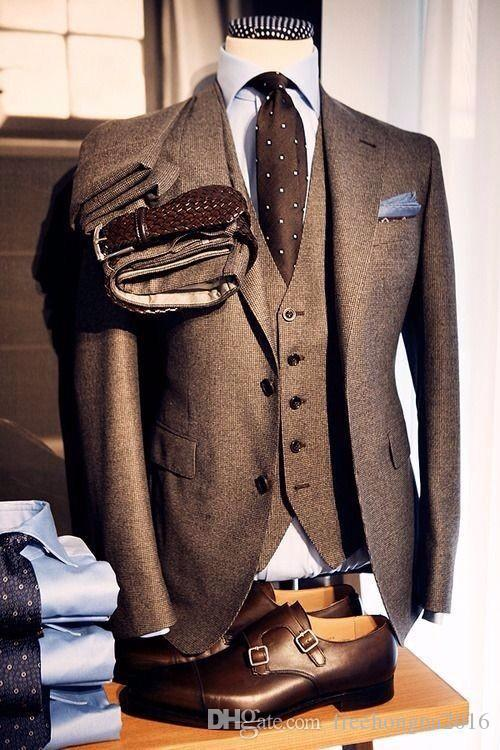 Custom Made Brown tweed Trois pièces smokings British style custom made mens costume tailleur slim fit blazer costumes de mariage pour hommes