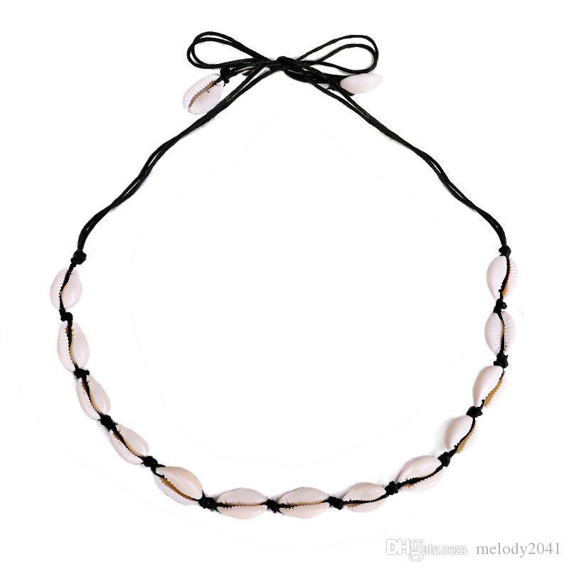 Ins Puka Shell Natürliche Chokers Hand geknotete gewebte Halskette Schlüsselbeinkette 2 Farben Großhandel