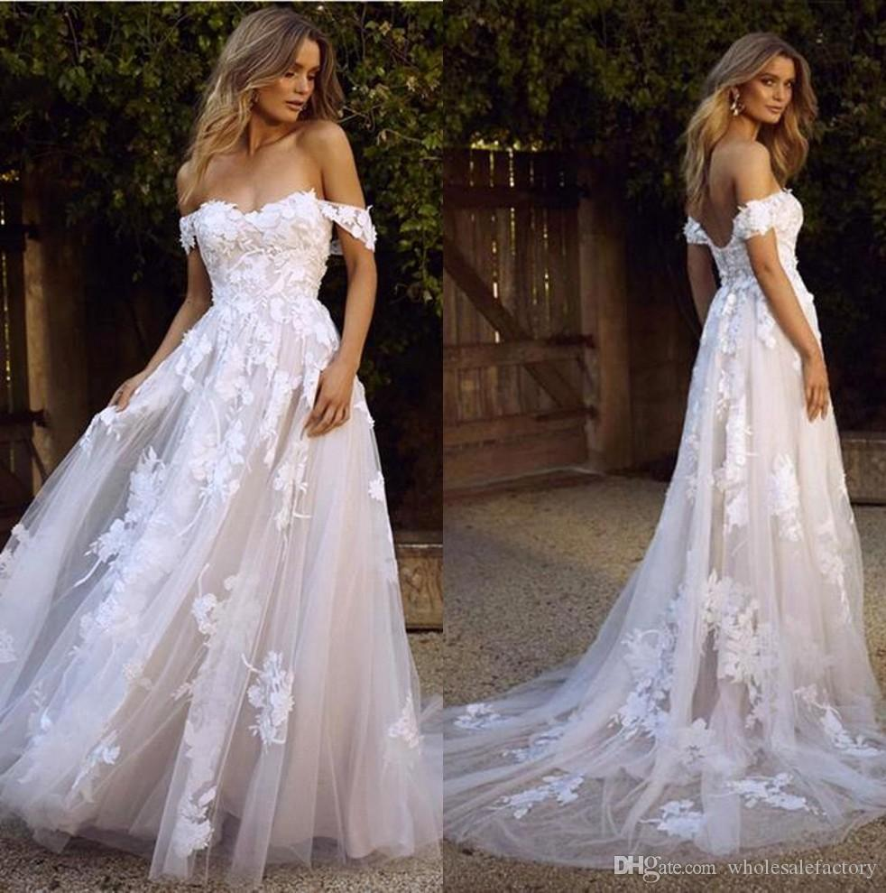 New Country Boho Wedding Dresses 2020 Sexy Backless A Line Off Shoulder Appliqued Tulle Long Summer Bridal Gowns Bohemian BM1510