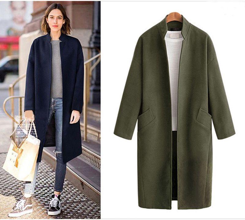 Fashion Casual Long Wool Blend Ladies Coat Solid Slim Women's Jacket Open Stitch Korean Womens Fashion Coat