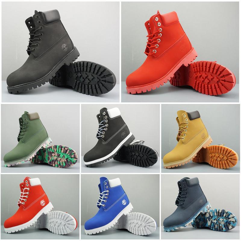 2020 Nueva original de arranque mens invierno de las mujeres de la castaña Triple Negro para mujer botas de combate de trabajo Martin nieve BOOTIE 36-45