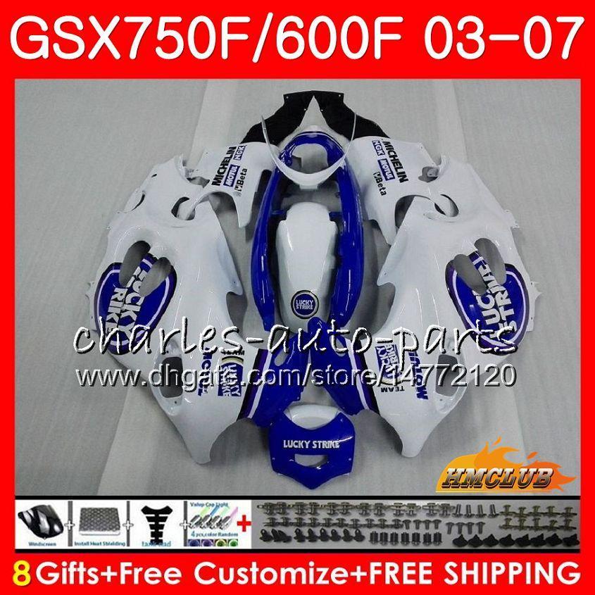 Body Kit för Suzuki Katana GSXF600 GSXF750 03 04 05 06 07 3HC.43 GSX750F GSX600F GSXF 750 600 2003 2004 2005 2006 2007 Lucky Blue Fairing