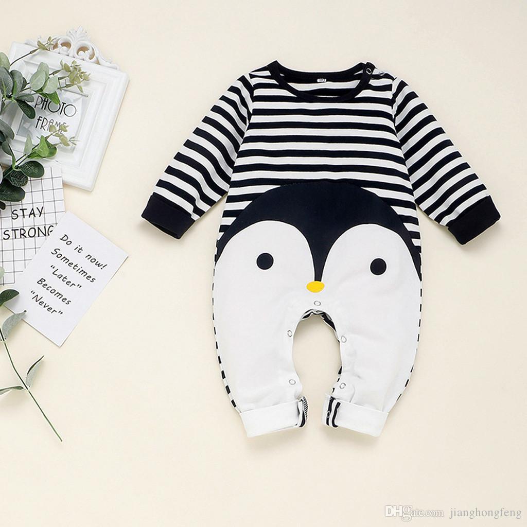 2.020 recém-nascido traje infantil roupa do bebê de algodão Meninos Meninas manga comprida listrada Jumpsuit da criança Romper