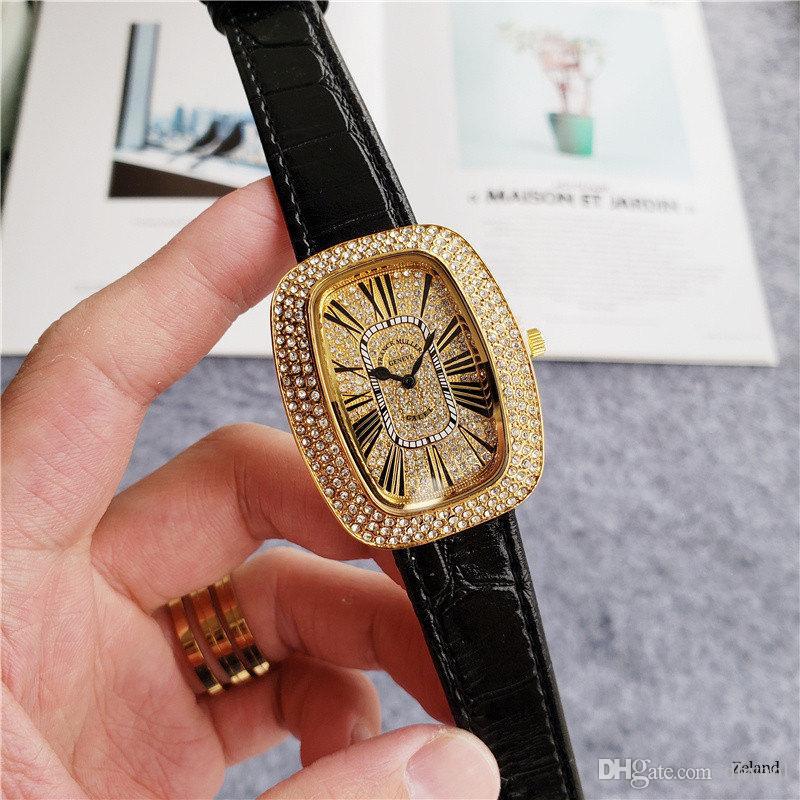 2020 Strass Neuer klassischen 39mm-voller Diamant-Shaped Diamant-Uhr-Frauen-Uhr hochwertige neue Art und Weise Rhinestones Quarzuhr Orologio