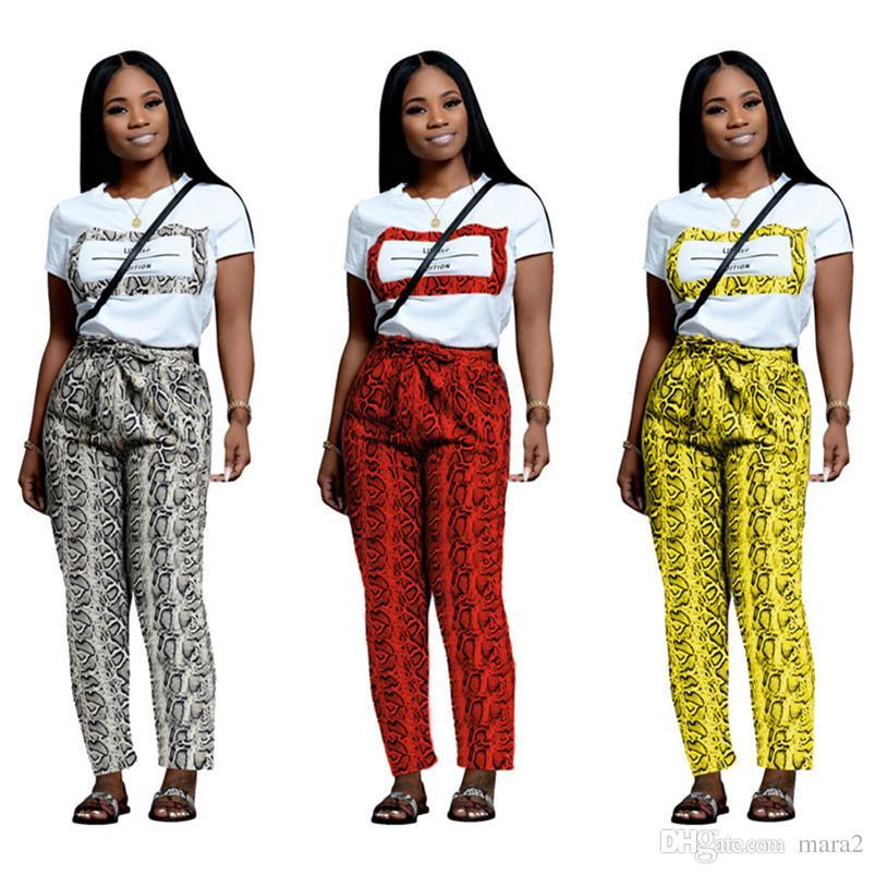 الملابس النسائية الصيف 2 قطعة مجموعة السراويل رياضية ملابس رياضية جرزاية التي شيرت ضمادة بدلة رياضية شيرت مستقيم الساق داخلية ملابس 917