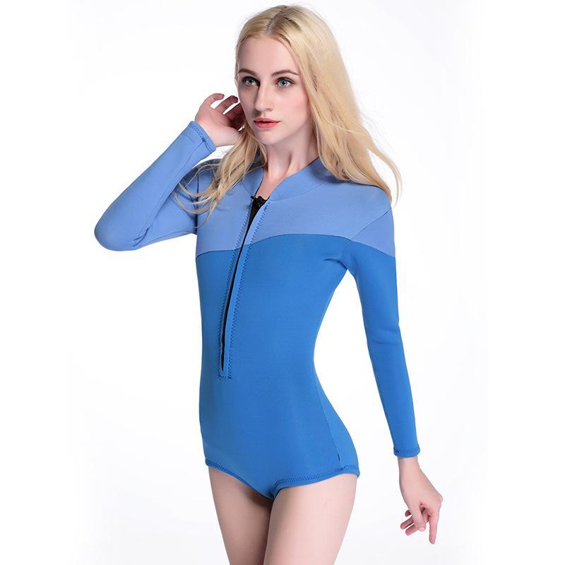 Женщины 3 мм неопрена с длинным рукавом водолазный костюм акваланг купальники согреться цельный серфинг куртка гидрокостюм неопрен бикини купальник