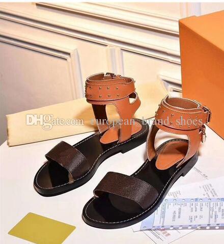 Attenzione! Sandali nomadi in pelle con stampa a caldo in pelle stampa sandali alla caviglia Designer suola in cuoio Sandali in pelle stampati piatti perfetti 01